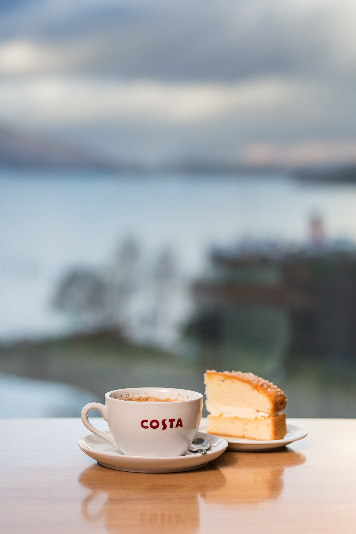 Costa coffee and cake at SEA LIFE Loch Lomond Loch view coffee shop